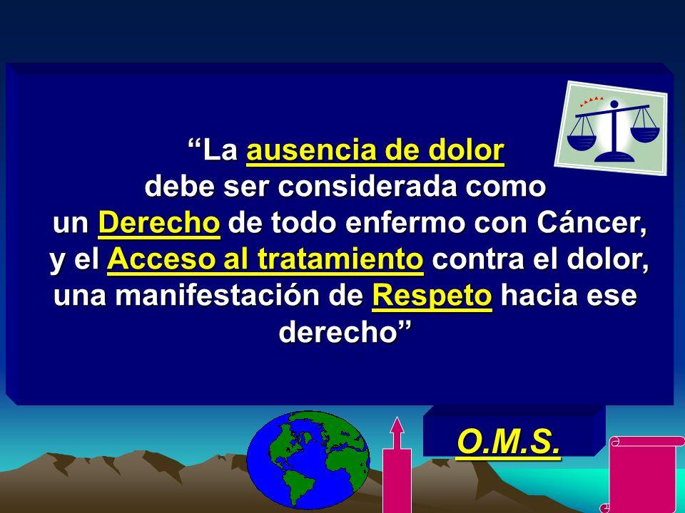 La ausencia de dolor debe ser considerada como un Derecho de todo enfermo con Cáncer, y el Acceso al tratamiento contra el dolor, una manifestación de Respeto hacia ese derecho