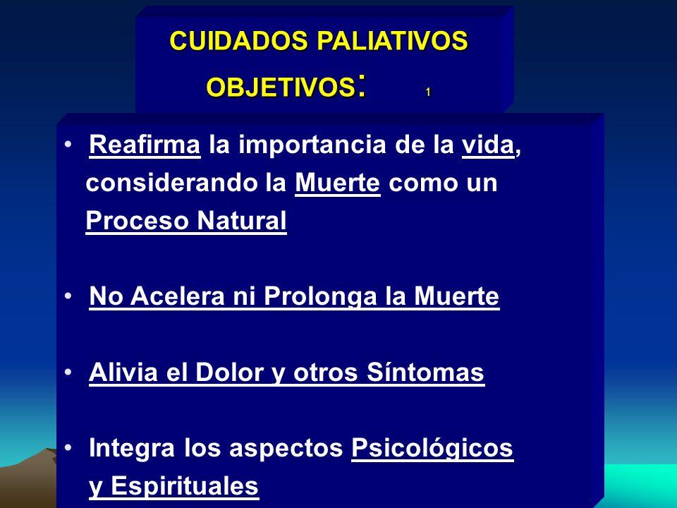 CUIDADOS PALIATIVOS OBJETIVOS: 1