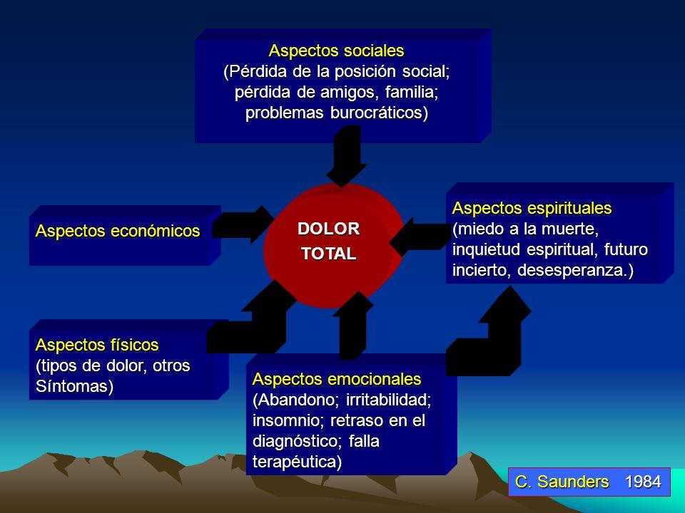 Aspectos sociales (Pérdida de la posición social; pérdida de amigos, familia; problemas burocráticos)