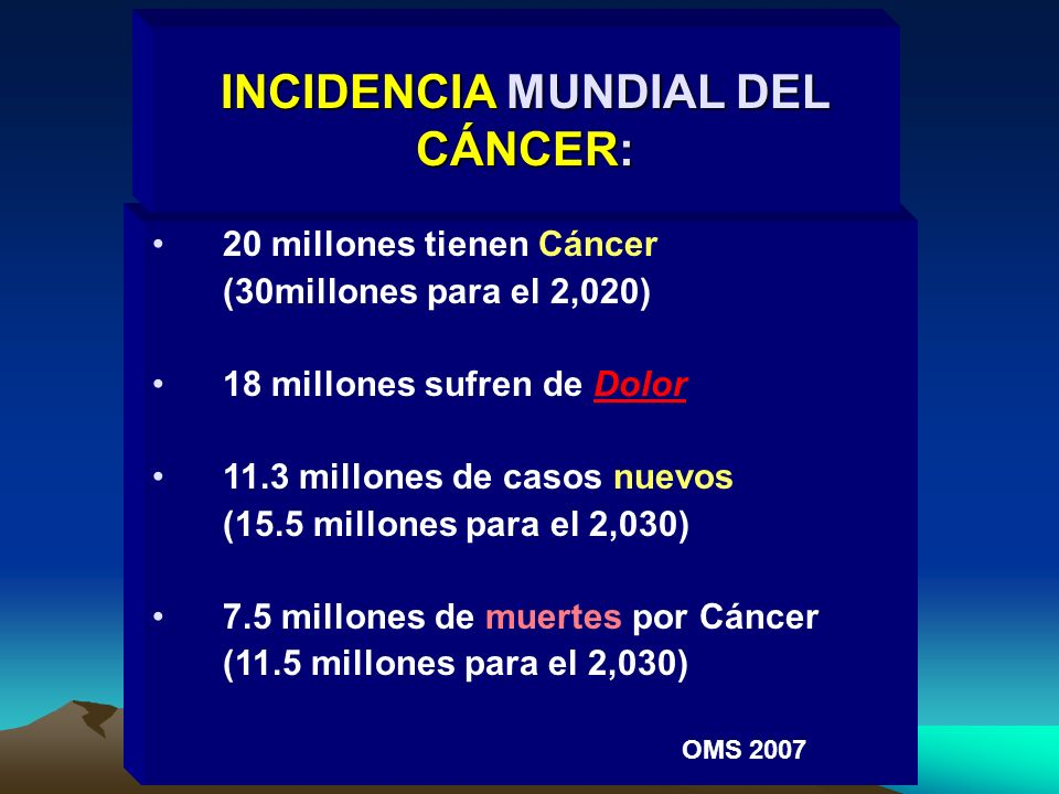 INCIDENCIA MUNDIAL DEL CÁNCER: