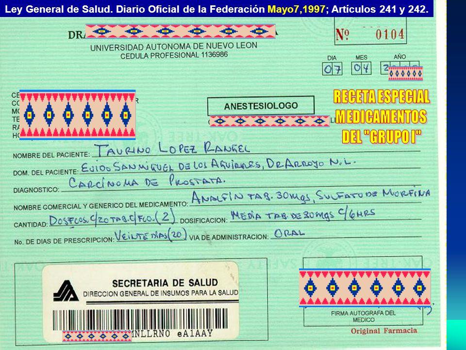 RECETA ESPECIAL MEDICAMENTOS DEL GRUPO I