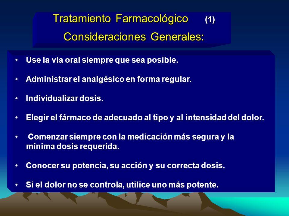 Tratamiento Farmacológico (1) Consideraciones Generales: