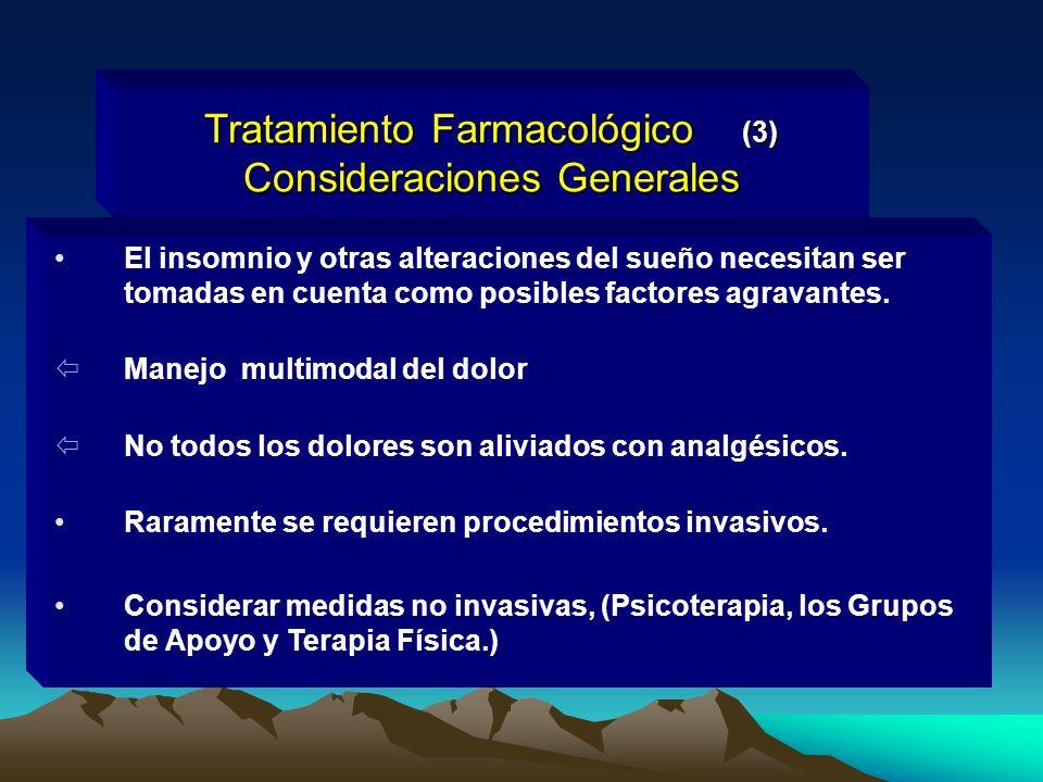 Tratamiento Farmacológico (3) Consideraciones Generales