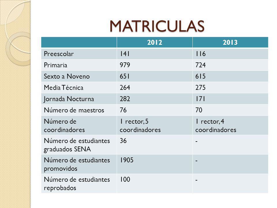 MATRICULAS 2012 2013 Preescolar 141 116 Primaria 979 724