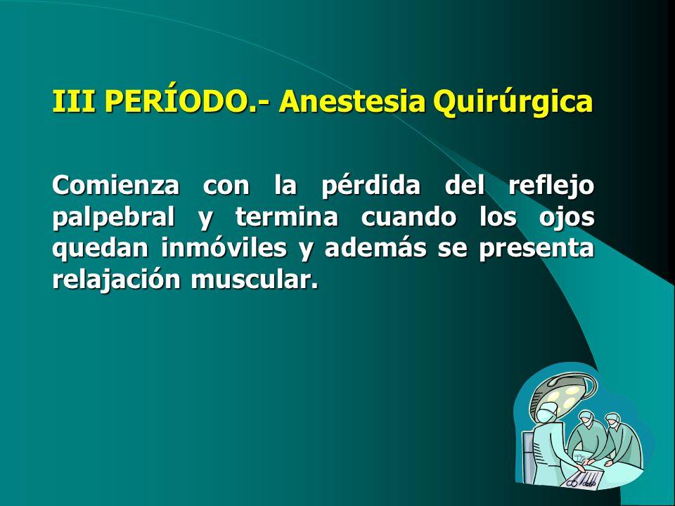 III PERÍODO.- Anestesia Quirúrgica