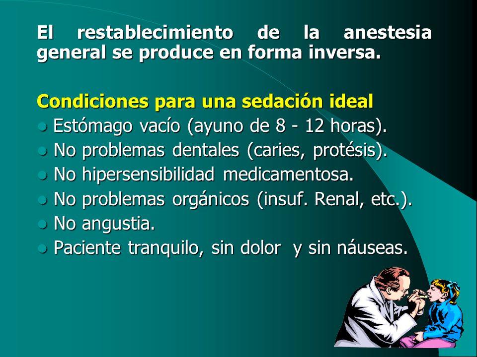 El restablecimiento de la anestesia general se produce en forma inversa.