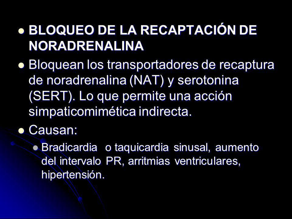 BLOQUEO DE LA RECAPTACIÓN DE NORADRENALINA