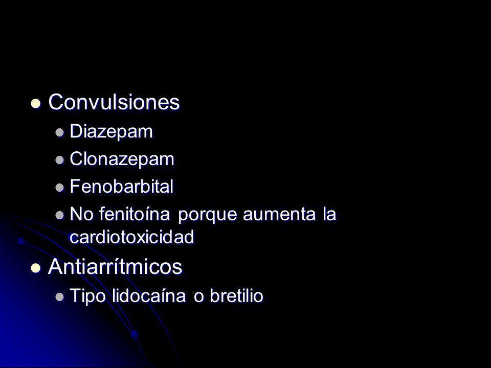 Convulsiones Antiarrítmicos Diazepam Clonazepam Fenobarbital