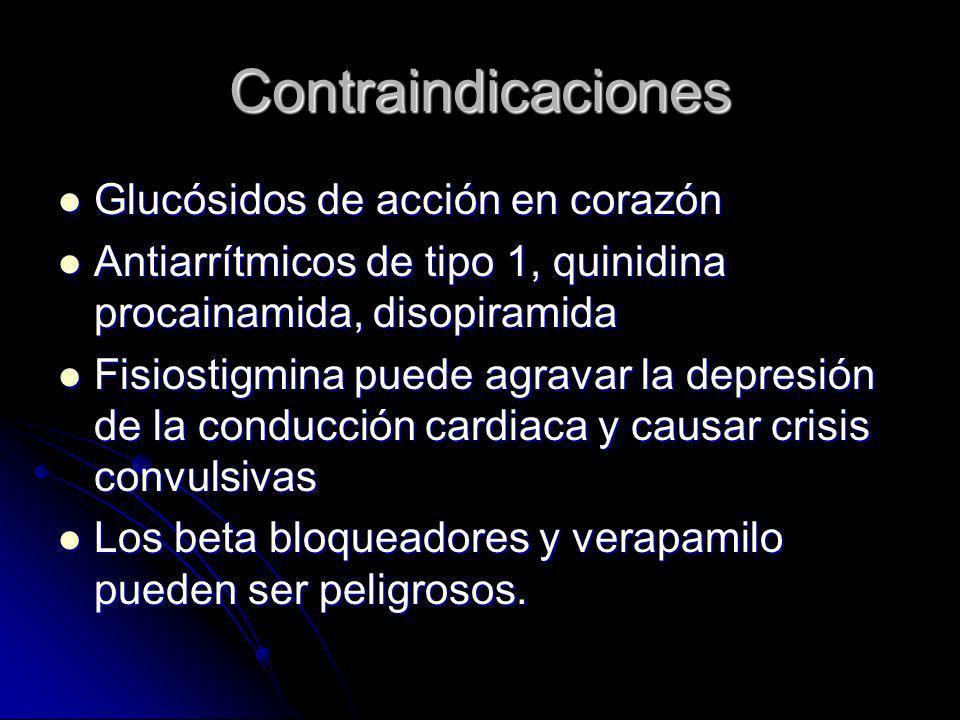 Contraindicaciones Glucósidos de acción en corazón