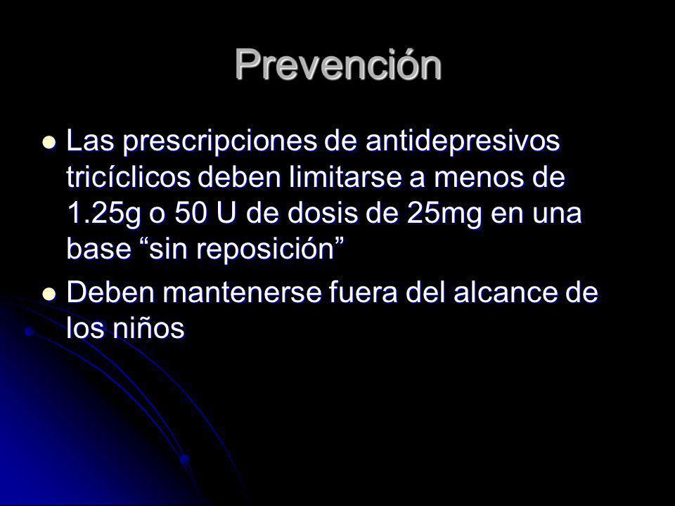 Prevención Las prescripciones de antidepresivos tricíclicos deben limitarse a menos de 1.25g o 50 U de dosis de 25mg en una base sin reposición