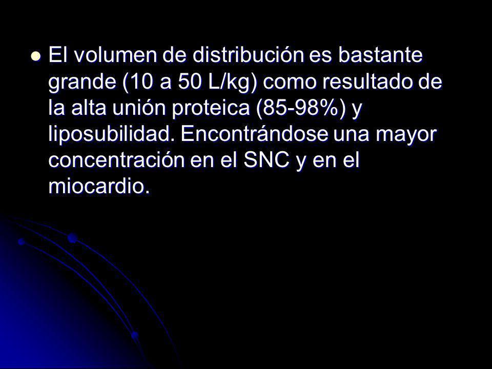 El volumen de distribución es bastante grande (10 a 50 L/kg) como resultado de la alta unión proteica (85-98%) y liposubilidad.