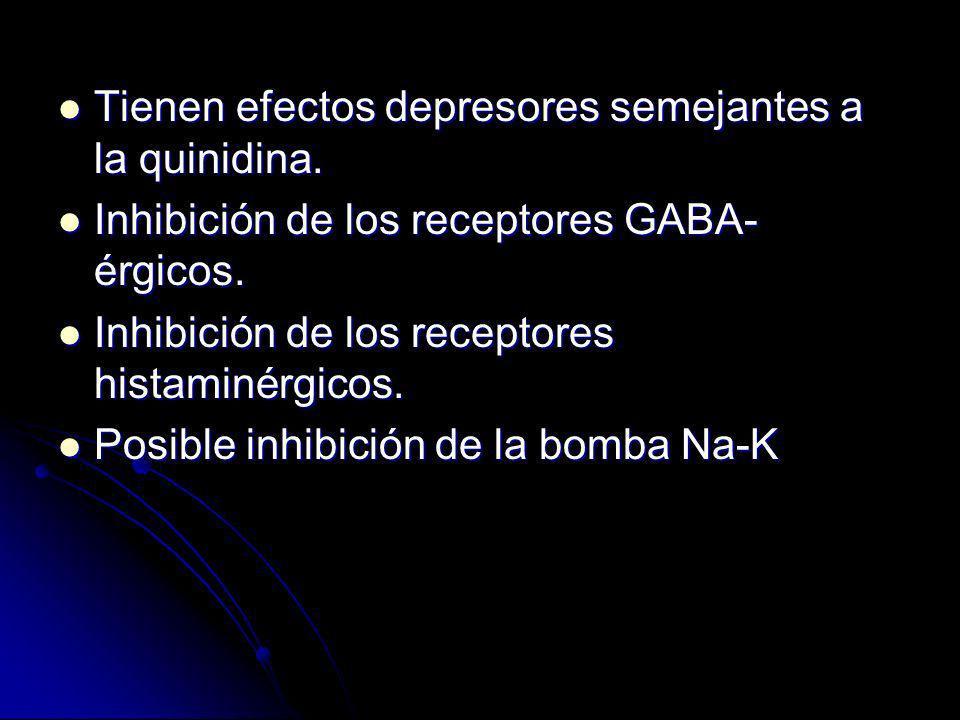 Tienen efectos depresores semejantes a la quinidina.