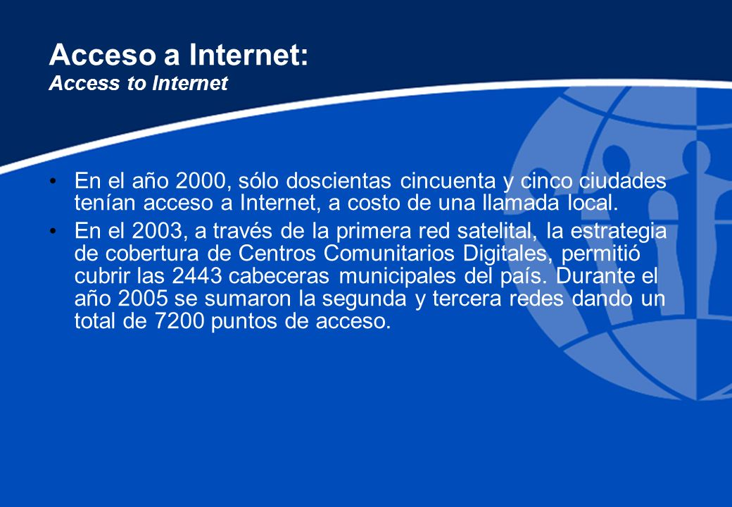 Acceso a Internet: Access to Internet