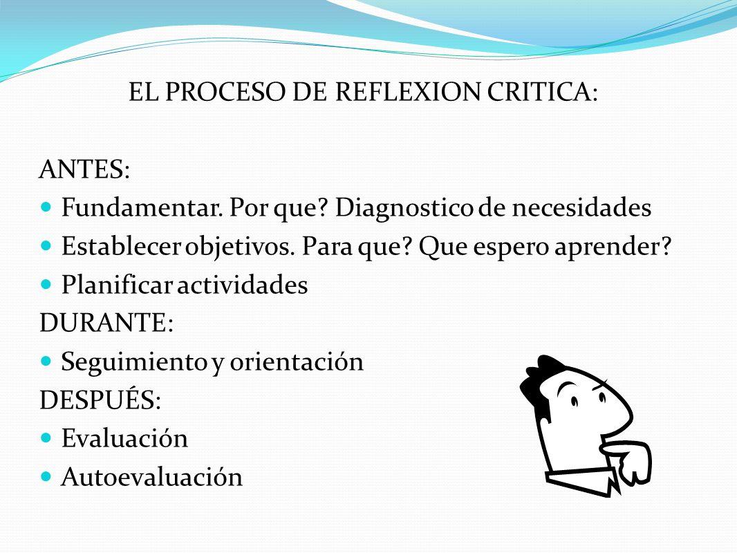 EL PROCESO DE REFLEXION CRITICA: