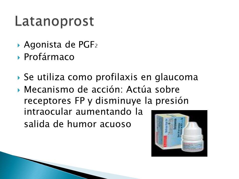 Latanoprost Profármaco Se utiliza como profilaxis en glaucoma