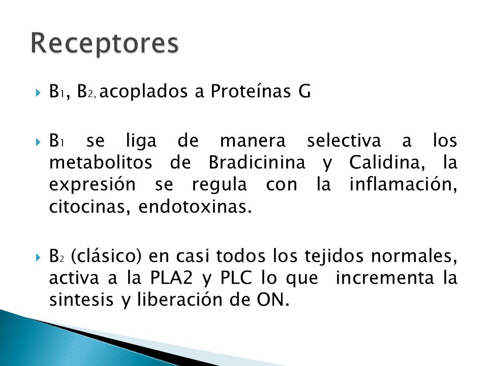Receptores B1, B2, acoplados a Proteínas G