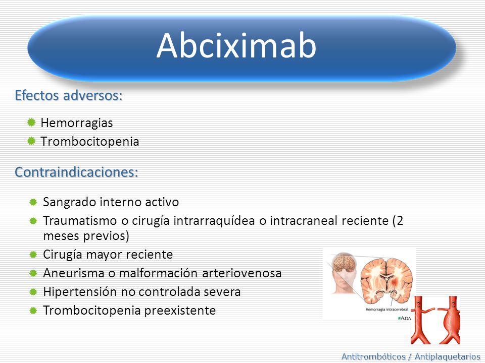 Abciximab Efectos adversos: Contraindicaciones: Hemorragias
