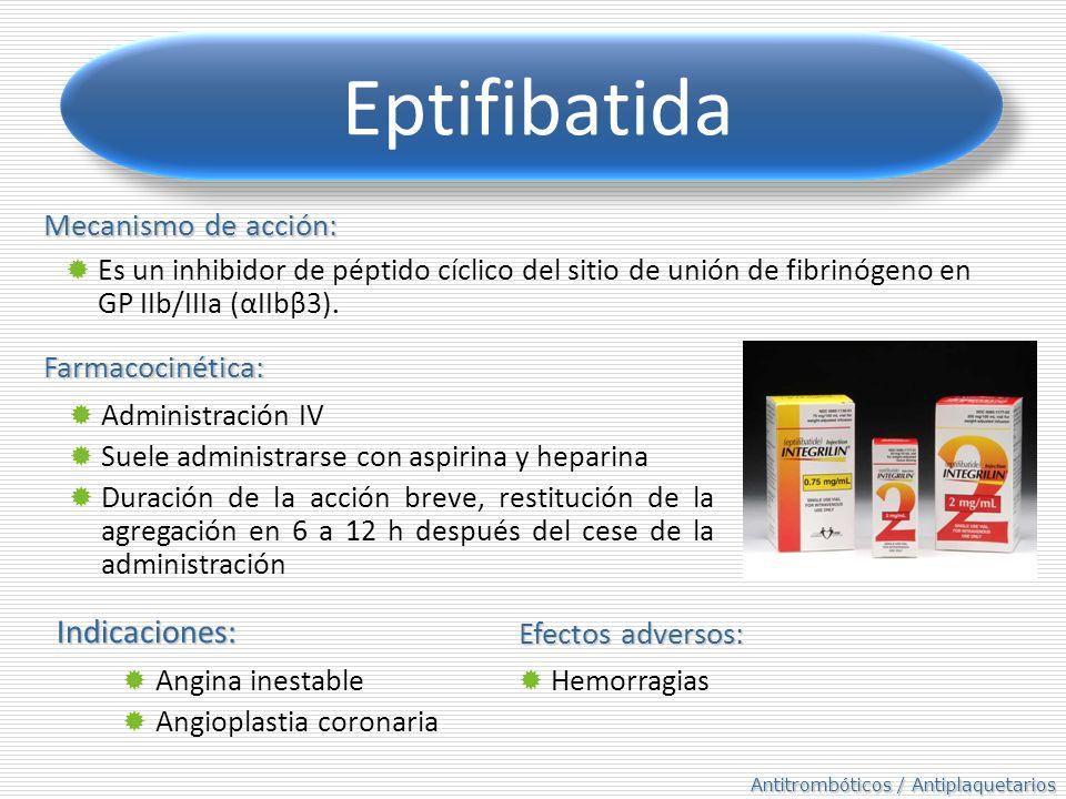 Eptifibatida Indicaciones: Mecanismo de acción: Farmacocinética: