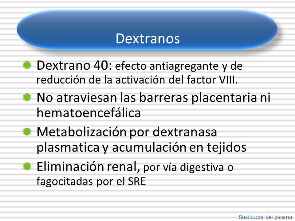 Dextranos Dextrano 40: efecto antiagregante y de reducción de la activación del factor VIII.