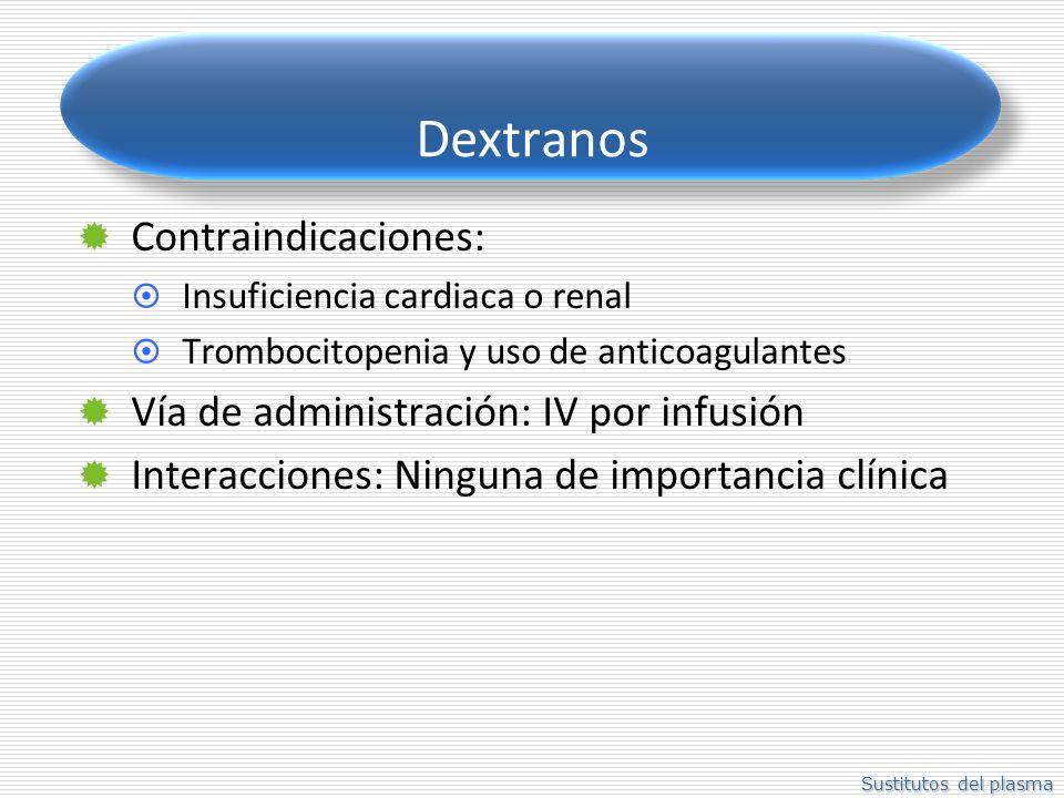 Dextranos Contraindicaciones: Vía de administración: IV por infusión