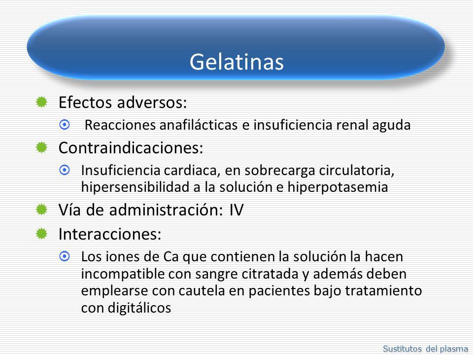 Gelatinas Efectos adversos: Contraindicaciones: