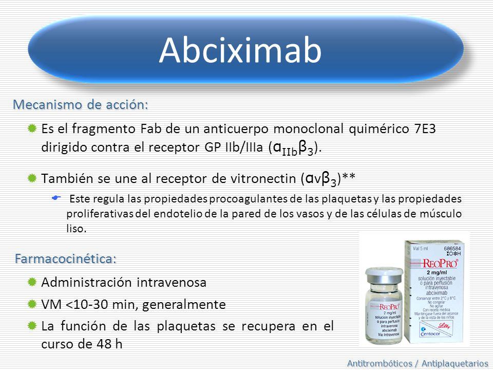 Abciximab Mecanismo de acción: