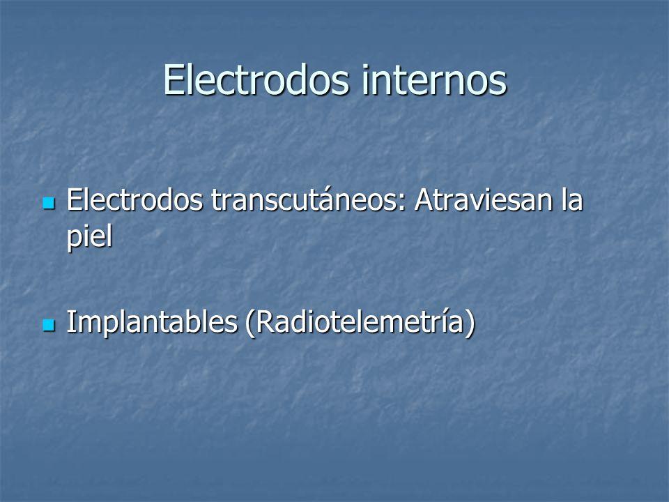 Electrodos internos Electrodos transcutáneos: Atraviesan la piel