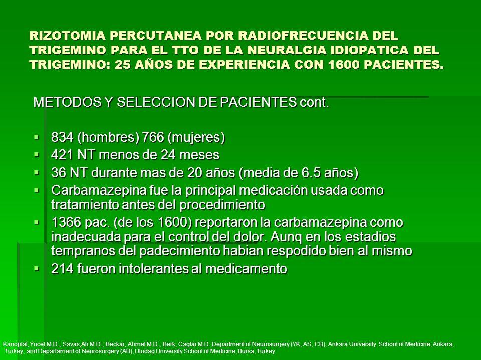 METODOS Y SELECCION DE PACIENTES cont. 834 (hombres) 766 (mujeres)