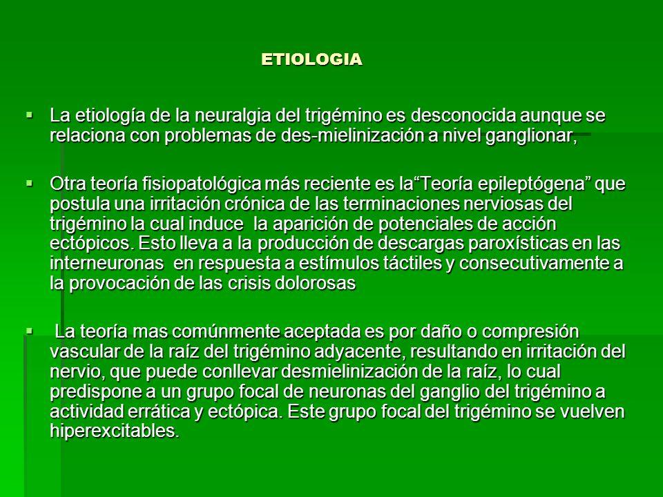 ETIOLOGIA La etiología de la neuralgia del trigémino es desconocida aunque se relaciona con problemas de des-mielinización a nivel ganglionar,
