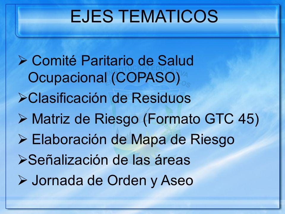 EJES TEMATICOS Comité Paritario de Salud Ocupacional (COPASO)