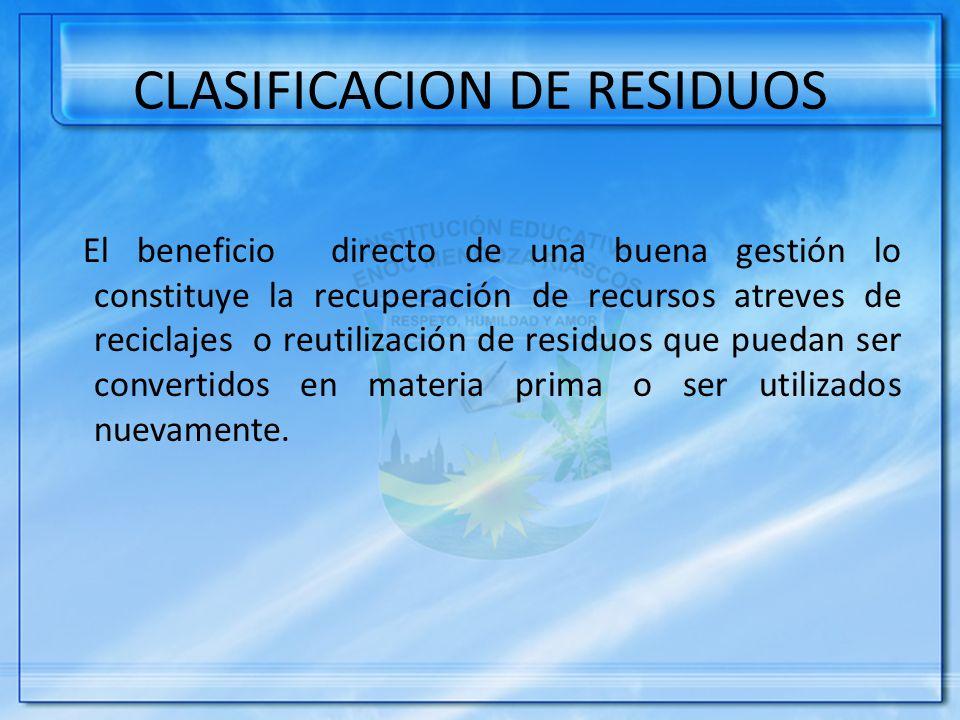 CLASIFICACION DE RESIDUOS