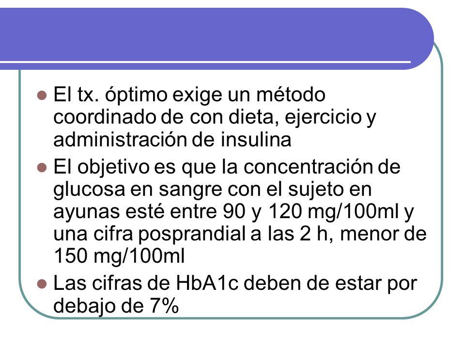 El tx. óptimo exige un método coordinado de con dieta, ejercicio y administración de insulina