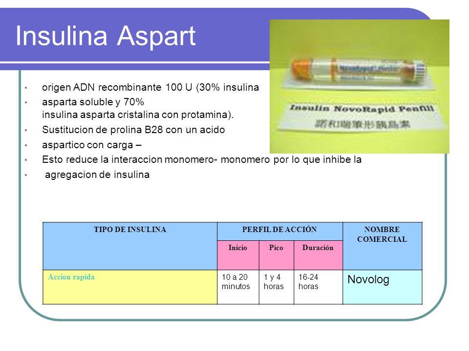 Insulina Aspart Novolog origen ADN recombinante 100 U (30% insulina