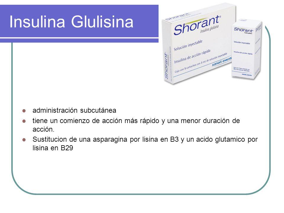 Insulina Glulisina administración subcutánea