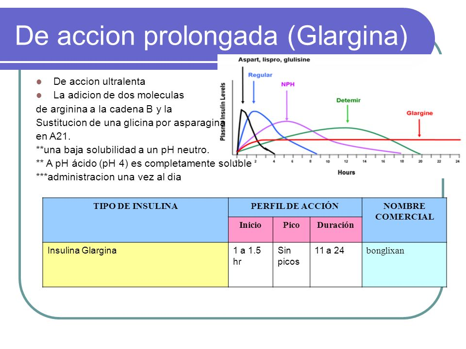 De accion prolongada (Glargina)