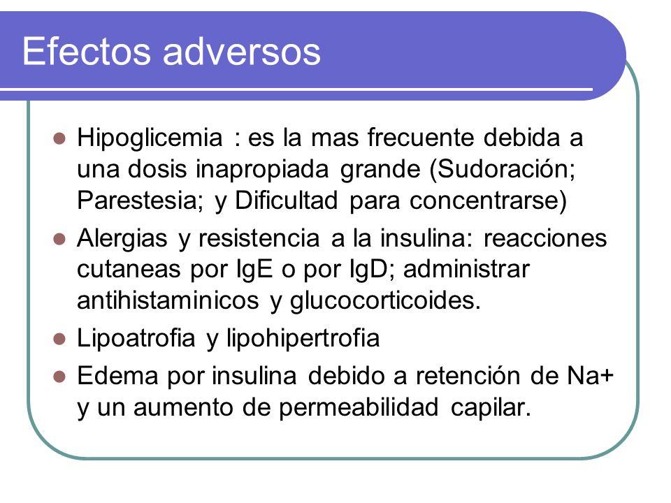 Efectos adversos Hipoglicemia : es la mas frecuente debida a una dosis inapropiada grande (Sudoración; Parestesia; y Dificultad para concentrarse)