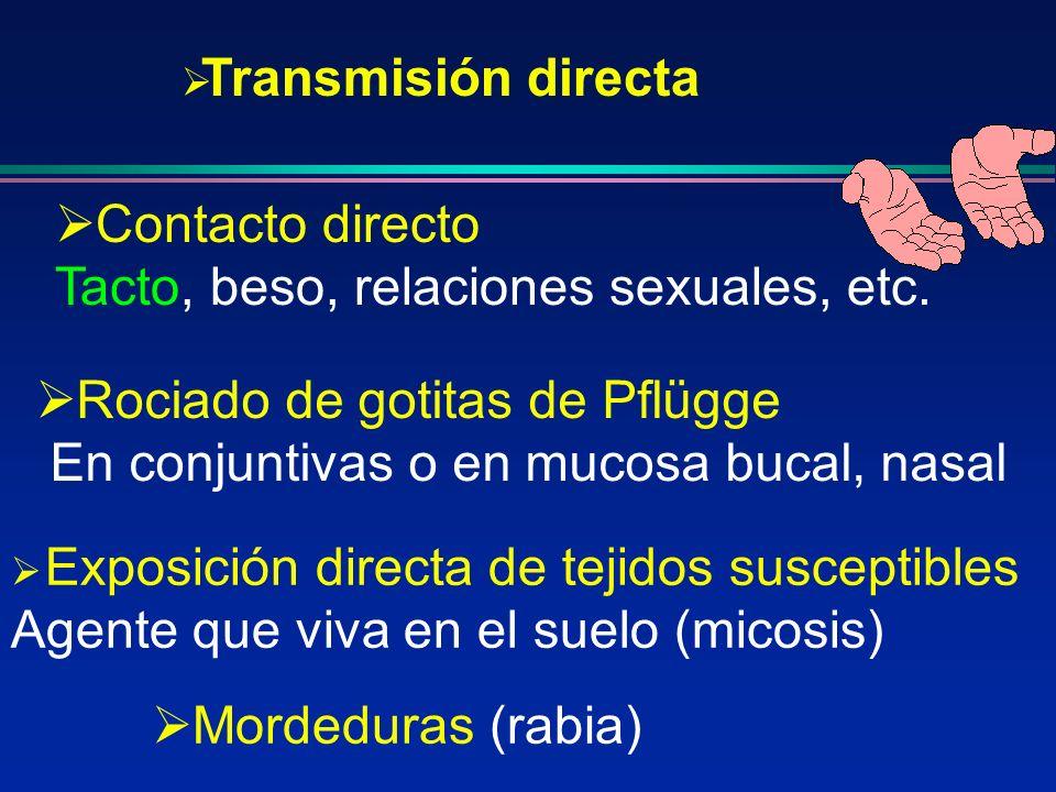 Transmisión directa Contacto directo. Tacto, beso, relaciones sexuales, etc. Rociado de gotitas de Pflügge.