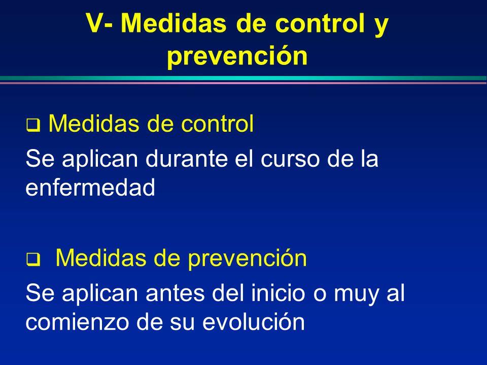 V- Medidas de control y prevención