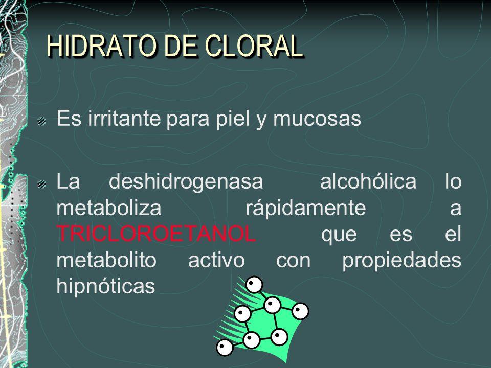 HIDRATO DE CLORAL Es irritante para piel y mucosas