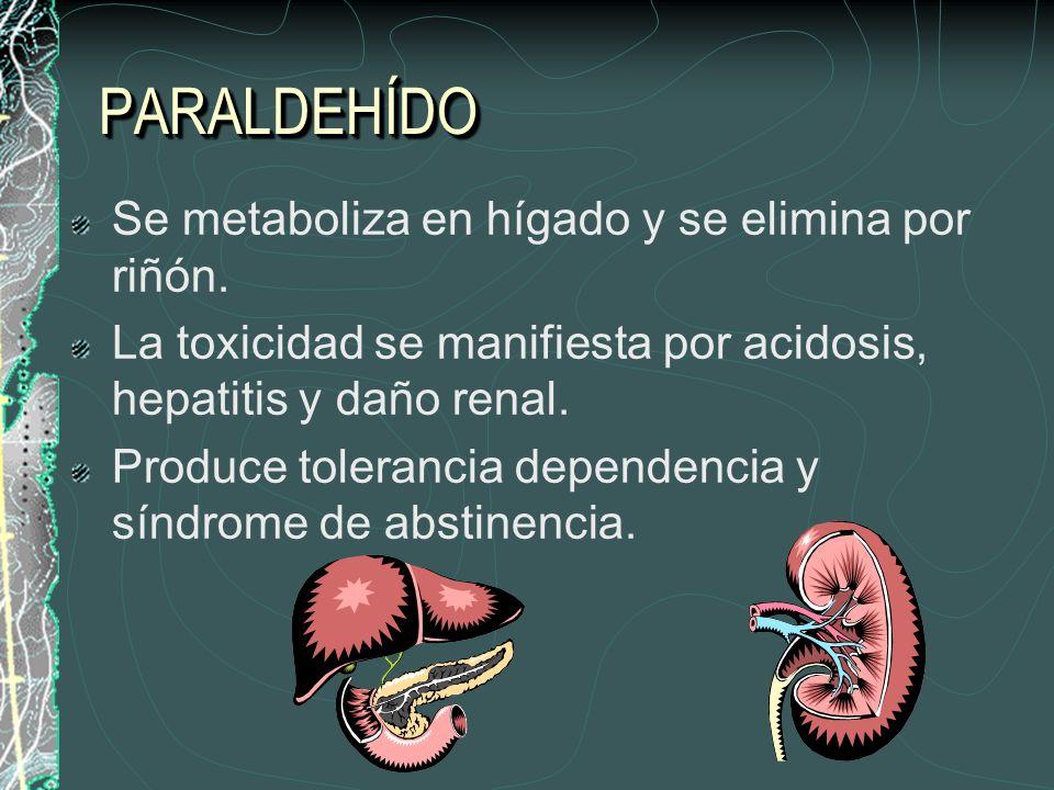 PARALDEHÍDO Se metaboliza en hígado y se elimina por riñón.