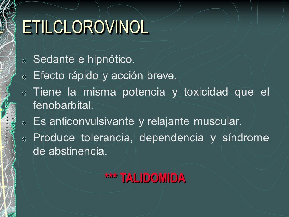 ETILCLOROVINOL *** TALIDOMIDA Sedante e hipnótico.