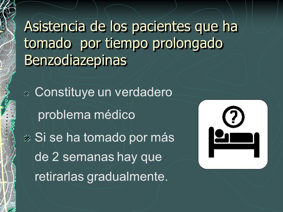 Asistencia de los pacientes que ha tomado por tiempo prolongado Benzodiazepinas