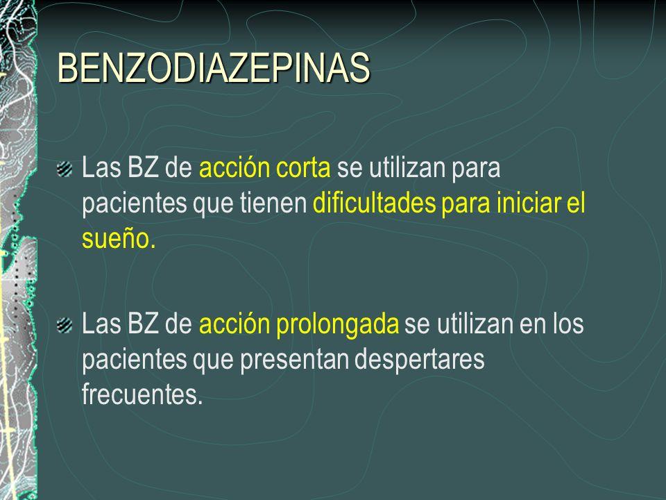 BENZODIAZEPINAS Las BZ de acción corta se utilizan para pacientes que tienen dificultades para iniciar el sueño.