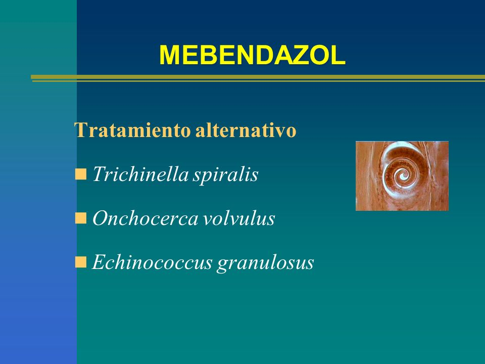 MEBENDAZOL Tratamiento alternativo Trichinella spiralis