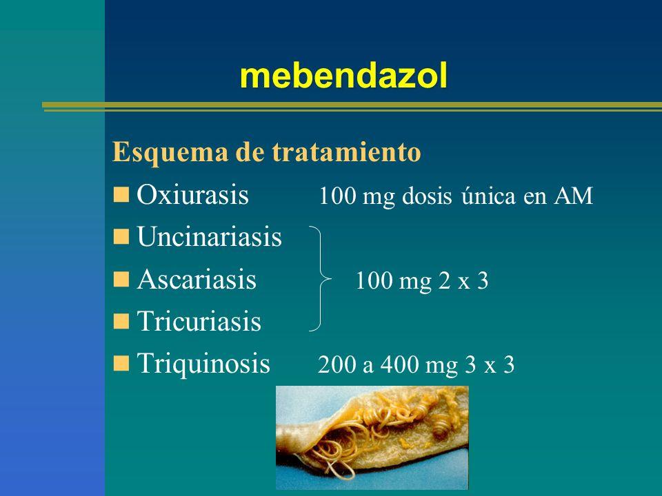 mebendazol Esquema de tratamiento Oxiurasis 100 mg dosis única en AM