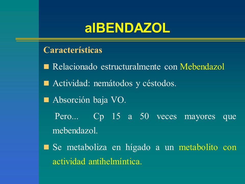 alBENDAZOL Características Relacionado estructuralmente con Mebendazol