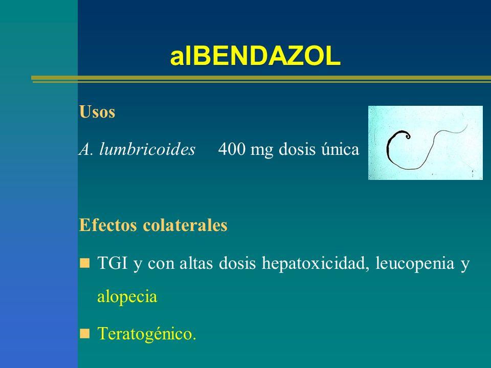 alBENDAZOL Efectos colaterales Usos A. lumbricoides 400 mg dosis única
