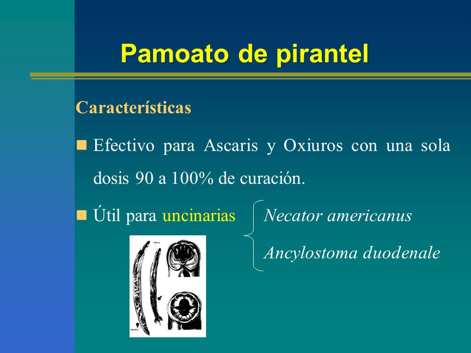 Pamoato de pirantel Características