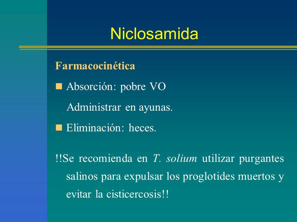 Niclosamida Farmacocinética Absorción: pobre VO Administrar en ayunas.