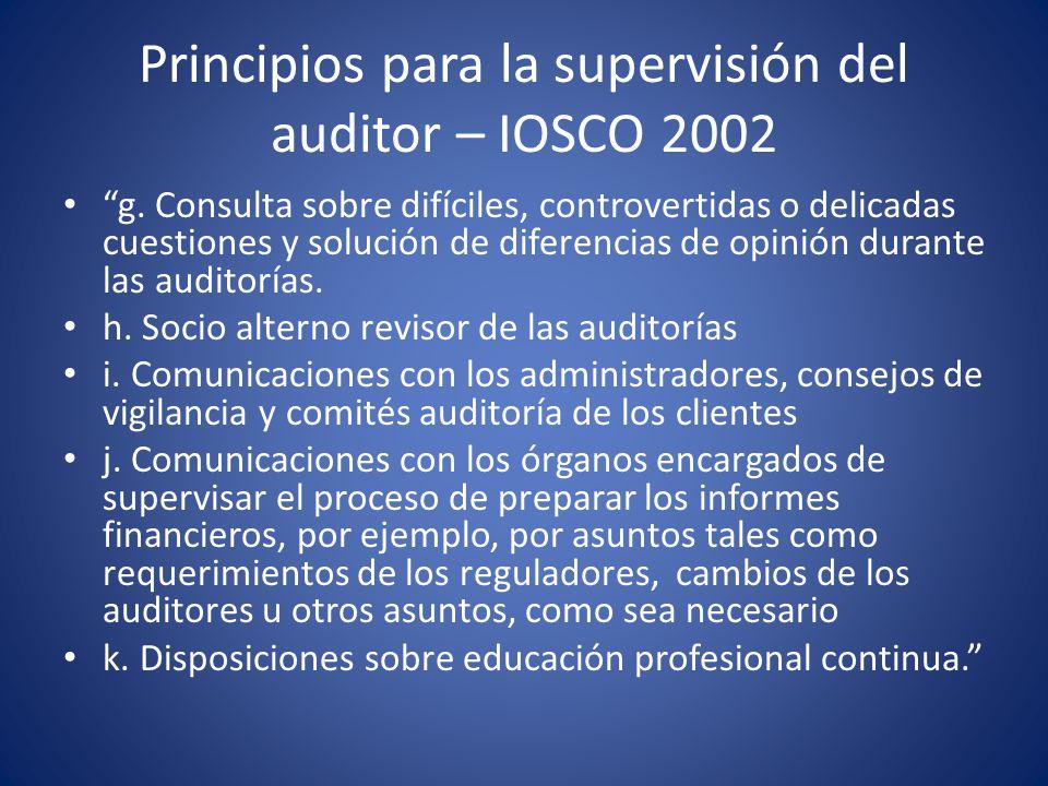 Principios para la supervisión del auditor – IOSCO 2002
